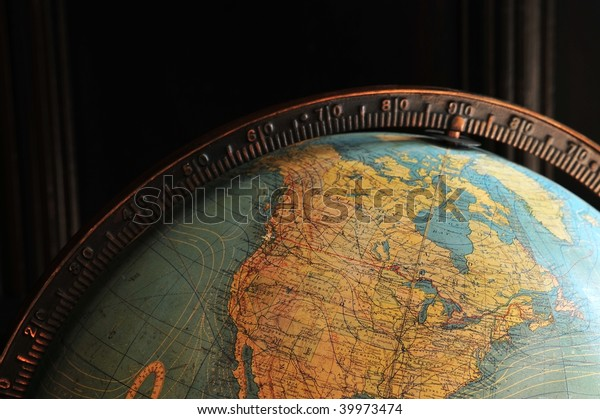 Close up look of a historical globe