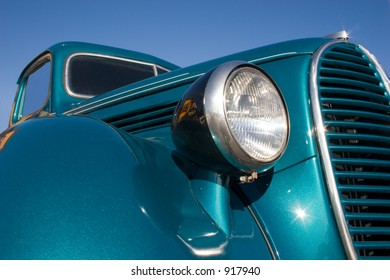 A close up look at an old classic pickup truck