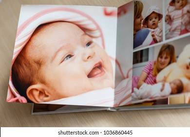 Close up looking at baby s album