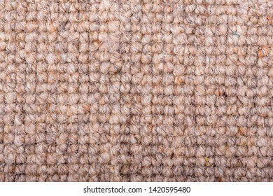 As close up of a loop pile wool carpet in neutral, beige and fawn tones.
