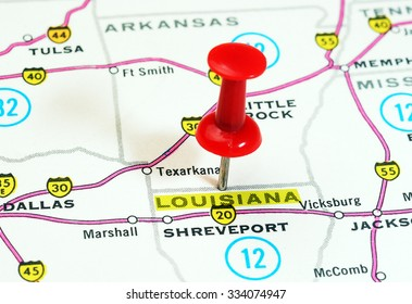 Close up of  Louisiana state USA  map with red pin - Travel concept