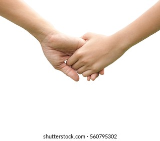close up  Lovely couple holding hands  on white background