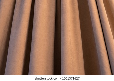 Close up of luxury beige curtains