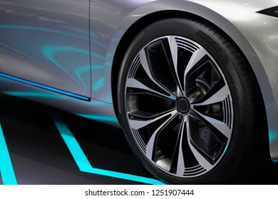 Close up Luxury sport car Wheel.