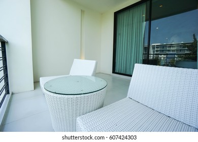 close up luxury white chair at balcony in hotel
