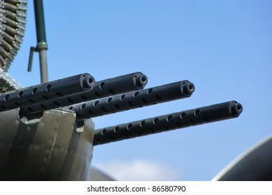 Close up of machine guns used on an World War II era bomber.