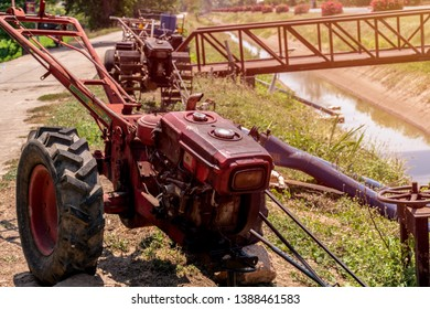 Close up machine for lowing field, tractor