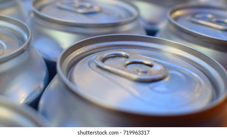 Close Up Macro Of Cola Drink Cans