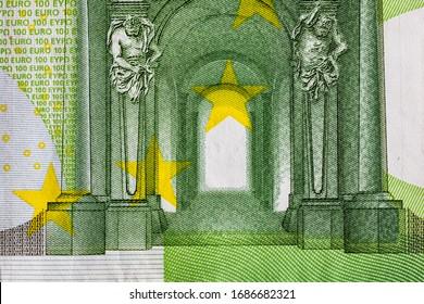 Detaillierte Makrodetails der Euro-Geldscheine, Detailfoto von EURO. Konzept von Weltgeld, Inflation und Wirtschaft