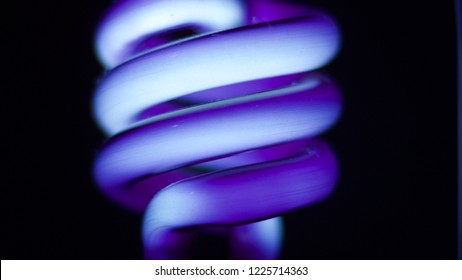 Close up macro glowing purple blacklight bulb.