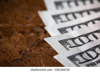 Close Up Macro Money American Dollars With Copy Space