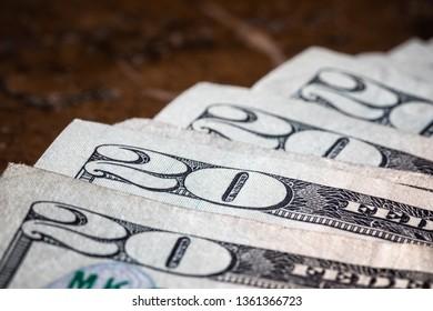 Close Up Macro Money American Twenty Dollar Bills