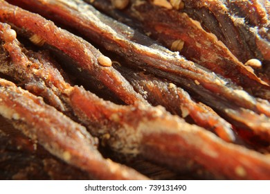 a close up macro shot of biltong (jerked meat). This is a popular South African food snack.This image has selective focusing.