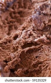 Close up macro shot of chocolate ice cream