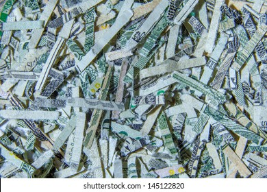 A close up macro of US currency shredded money