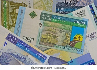 Close up of madagascar currency