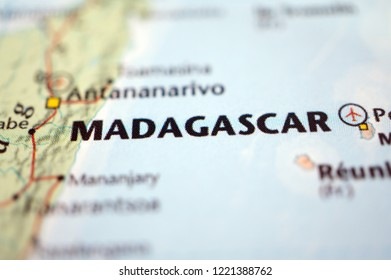 close up Madagascar on map