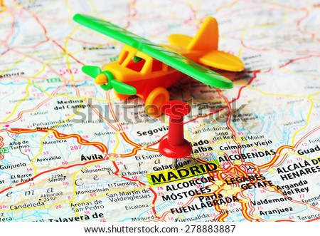 840a5a54ca Close Madrid Spain Map Red Pin Stock Photo (Edit Now) 278883887 ...