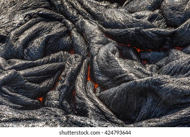 Close up magma in lava field Hawaii volcanoes National Park
