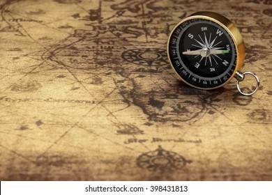Close Up Of Magnetic Compass On The Old Map, Front View, Horizontal Image