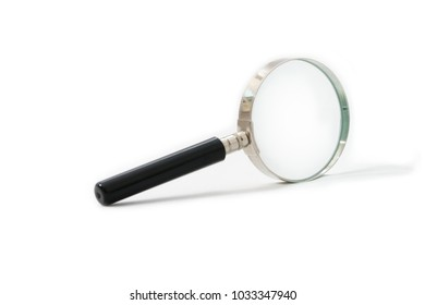 close up of magnifying glass isolated on white background