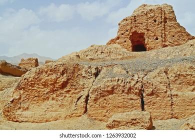 Close up of main building of Subash Buddhist temple ruins in Kuqa, Aksu, Xinjiang, UNESCO World heritage site in China.