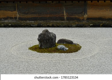 Close up of main stone island in the world heritage site Japanese rock garden, Ryoanji Temple in Kyoto Japan.