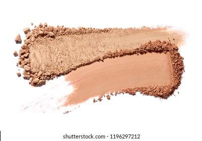 close up of make up powder on white background