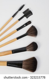 Close up of a makeup powder brush isolate on white background