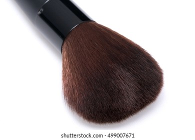 Close up Make-up short handle Brush on white background with copy space.  (Brush for powder, rouge on blush cheek, lady beauty)