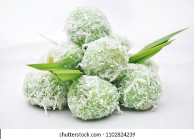 "Close up of Malay traditional dessert called ""buah melaka"". Isolated white background, selective focus, shallow depth"