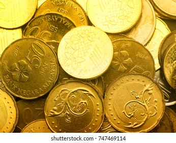 Close up of malaysia coins