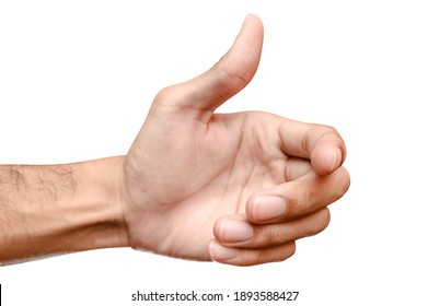 Close up male caucasian hand holding something like a bottle or can isolated on white background with clipping path.