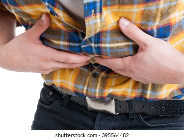 Close up of male with discomfort and stomach cramps as diarrhea and flatulence concept isolated on white