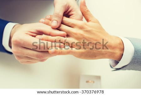 410db73d72 Close Male Gay Couple Hands Wedding Stock Photo (Edit Now) 370376978 ...