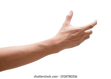 Close up male hand holding something like a bottle or can isolated on white background with clipping path. - Shutterstock ID 1928780336