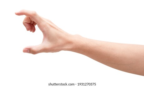 Close up male hand holding something like a bottle or can isolated on white background with clipping path.
