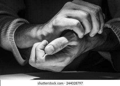 Close up of male hands. Black and white.
