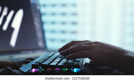 Close up of male hands typing on a laptop keyboard by the panoramic window