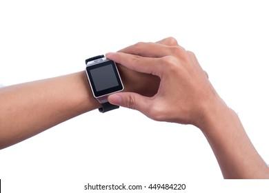 Close up of a male hands using a modern smart watch