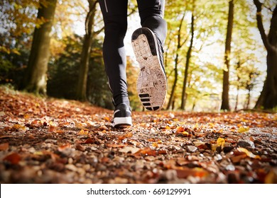 Close Up Of Male Runners Feet On Run Through Autumn Landscape