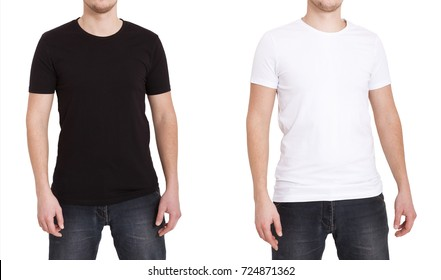 Close up of man in blank black and white t-shirt. Mock up of tshirt isolated on white.