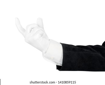Close up of man hand in black suit and white glove holding, measuring or supporting something. Isolated on white background with clipping path