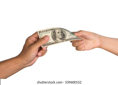 Close up of man hand giving money to woman hand,isolated white background with clipping path.Give and take.US dollar banknote.
