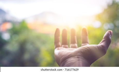 Close up man hand open with sun light on green nature bokeh and blur city abstract background. Copy space for technology business and lifestyle  concept. Vintage tone filter effect color style.