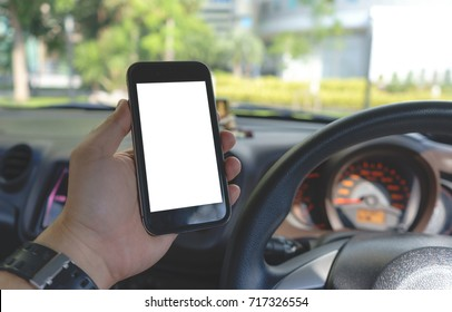 Close up man hand Using on smartphone in car