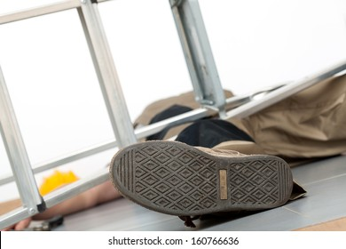 Close up of the man lying on the ground following lethal fall