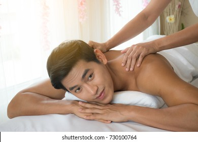 Close up man in relaxing spa massage.
