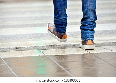 Close up of man shoes walking