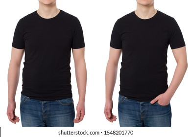 Close up Man in T-shirt black template. Guy Shirts set. tshirt mockup Front view. Mock up isolated on white background. Blank summer shirt. Copy space. Cropped image